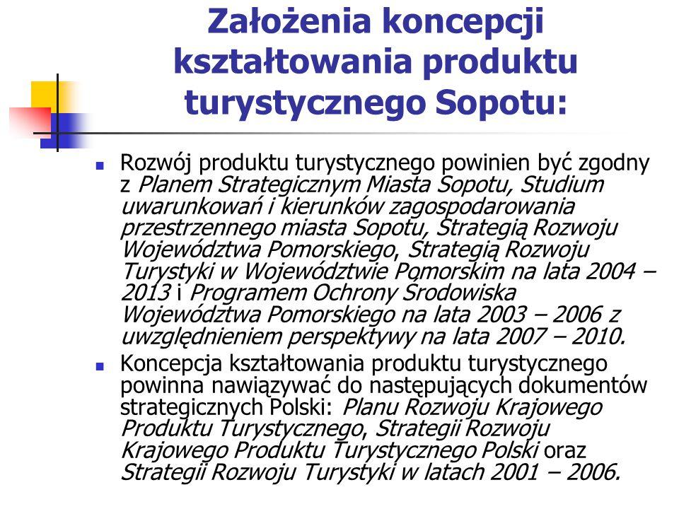 Założenia koncepcji kształtowania produktu turystycznego Sopotu: