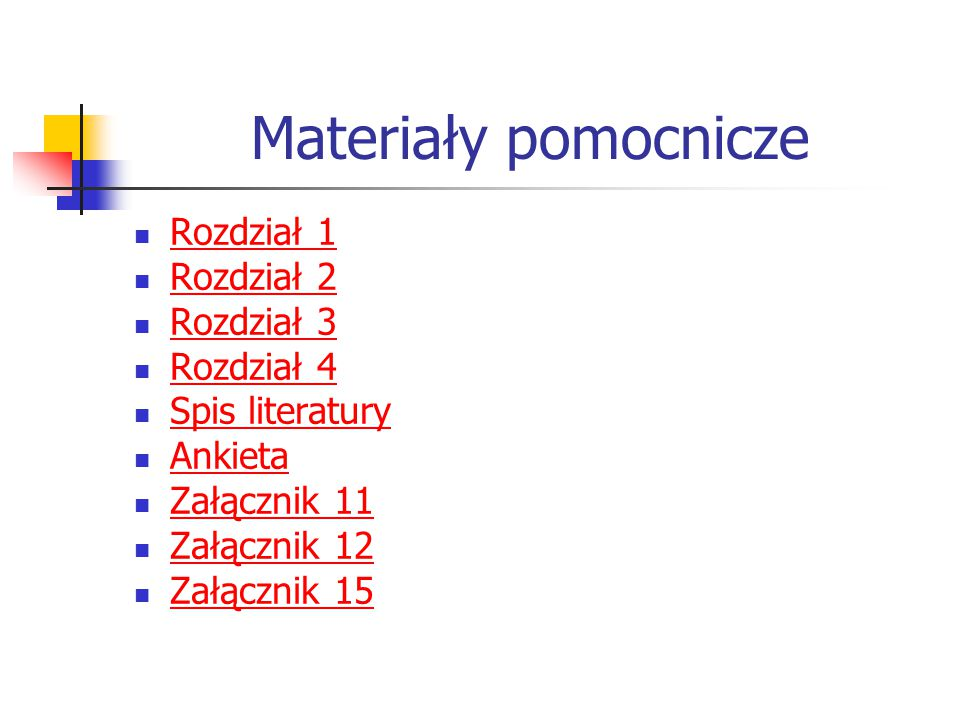 Materiały pomocnicze Rozdział 1 Rozdział 2 Rozdział 3 Rozdział 4