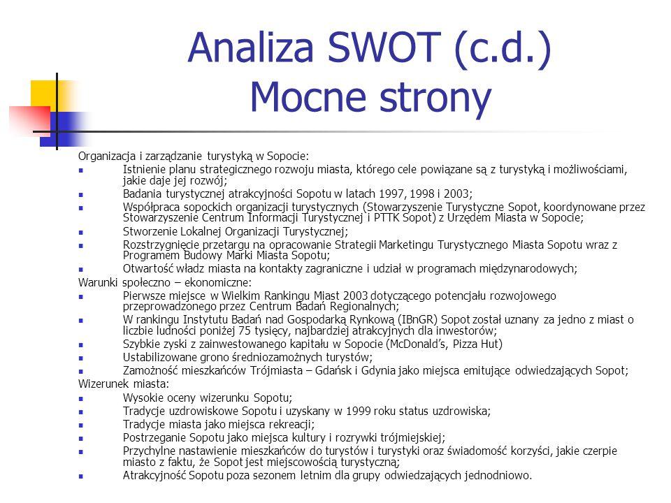 Analiza SWOT (c.d.) Mocne strony