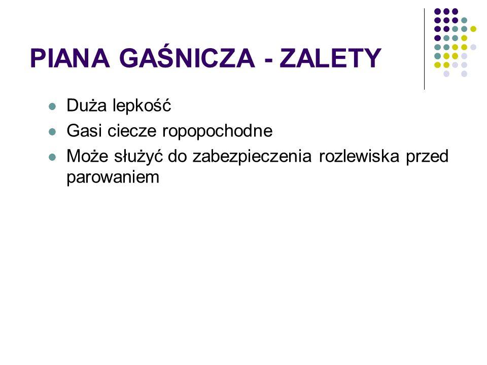 PIANA GAŚNICZA - ZALETY