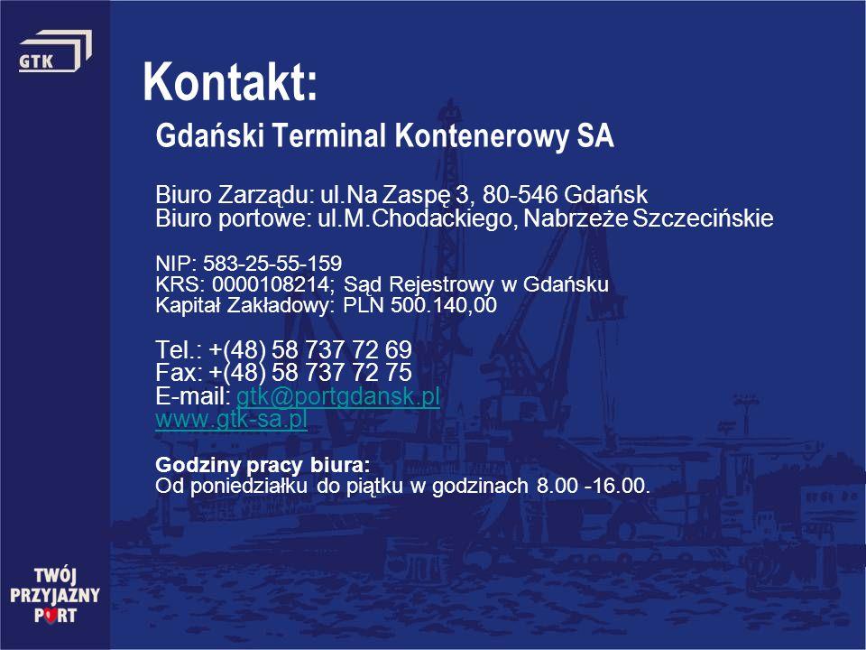 Kontakt: Gdański Terminal Kontenerowy SA