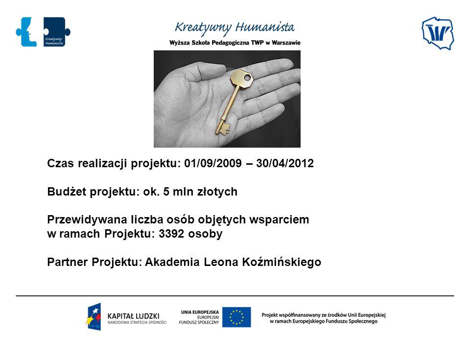 Czas realizacji projektu: 01/09/2009 – 30/04/2012 Budżet projektu: ok