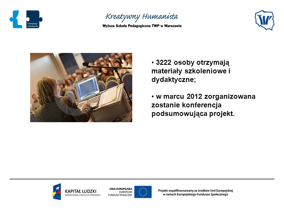 3222 osoby otrzymają materiały szkoleniowe i dydaktyczne;