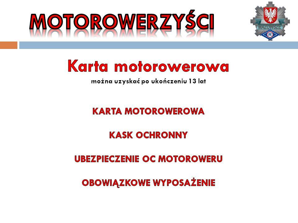 MOTOROWERZYŚCI Karta motorowerowa KARTA MOTOROWEROWA KASK OCHRONNY