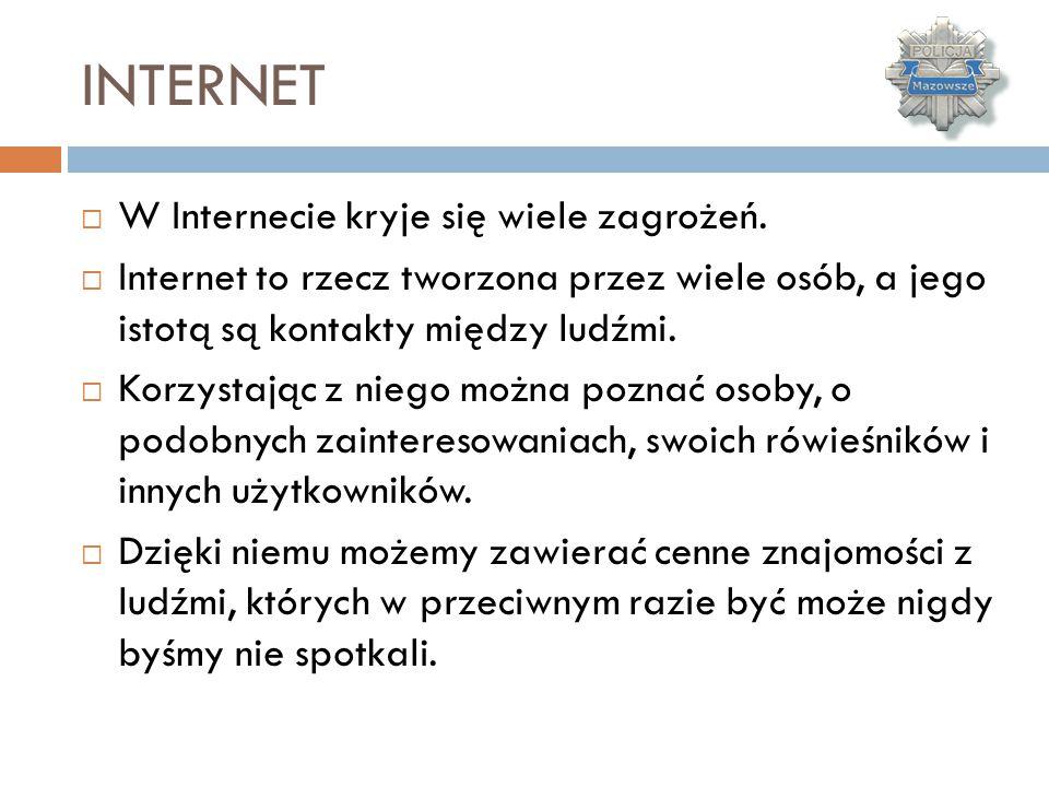 INTERNET W Internecie kryje się wiele zagrożeń.