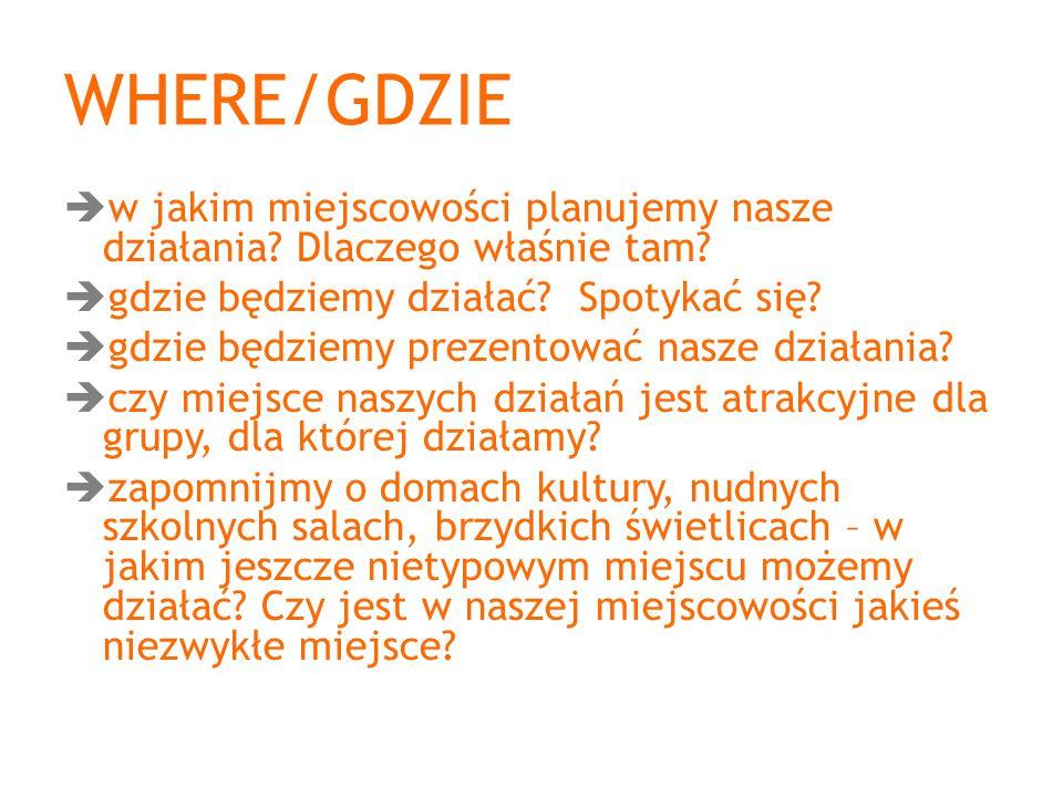 WHERE/GDZIE w jakim miejscowości planujemy nasze działania Dlaczego właśnie tam gdzie będziemy działać Spotykać się