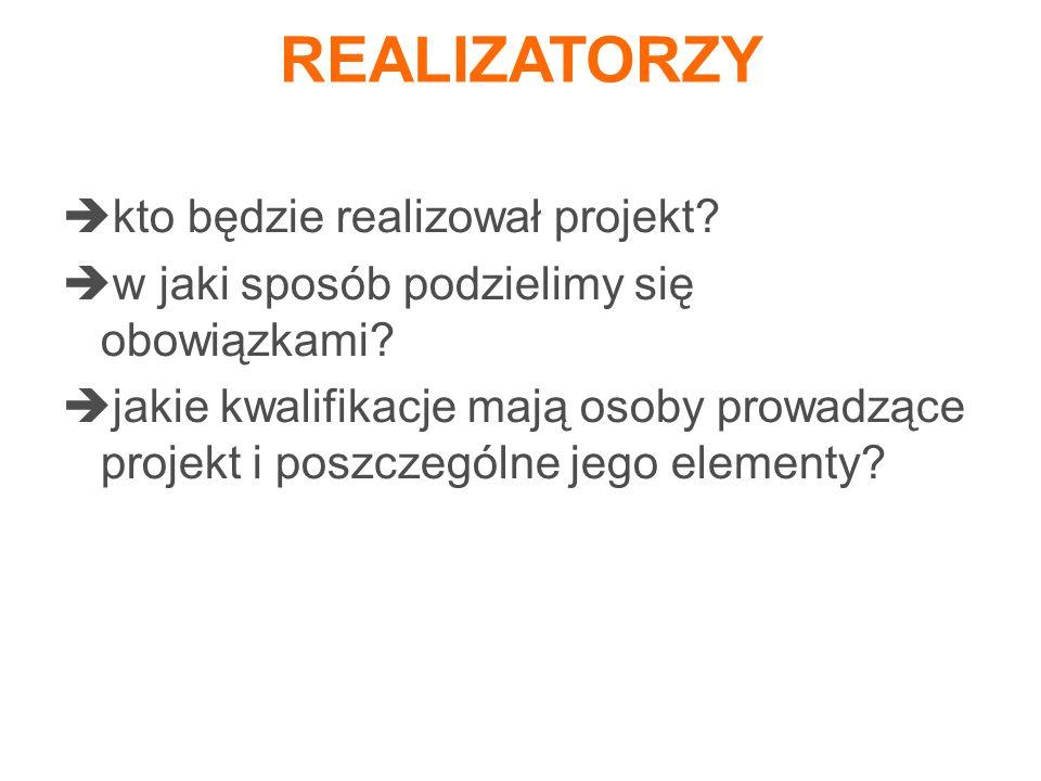 REALIZATORZY kto będzie realizował projekt