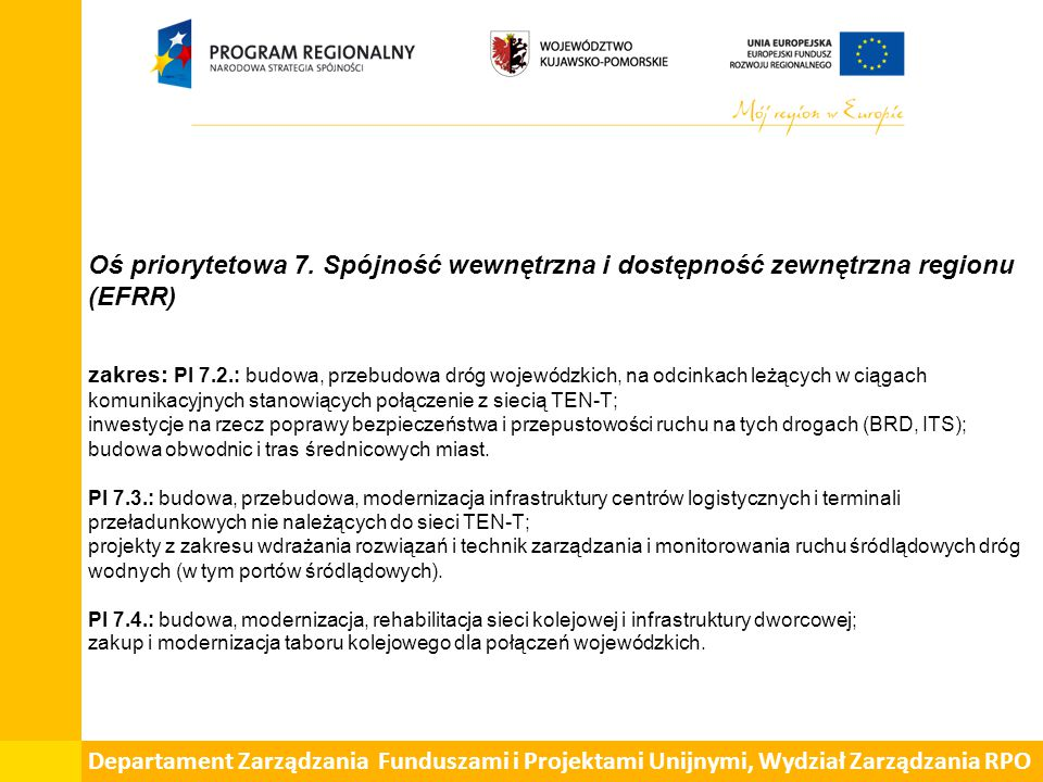 Departament Zarządzania Funduszami i Projektami Unijnymi, Wydział Zarządzania RPO
