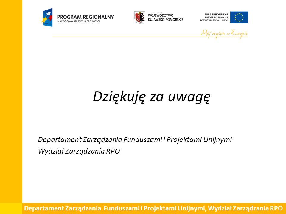 Dziękuję za uwagę Departament Zarządzania Funduszami i Projektami Unijnymi. Wydział Zarządzania RPO.