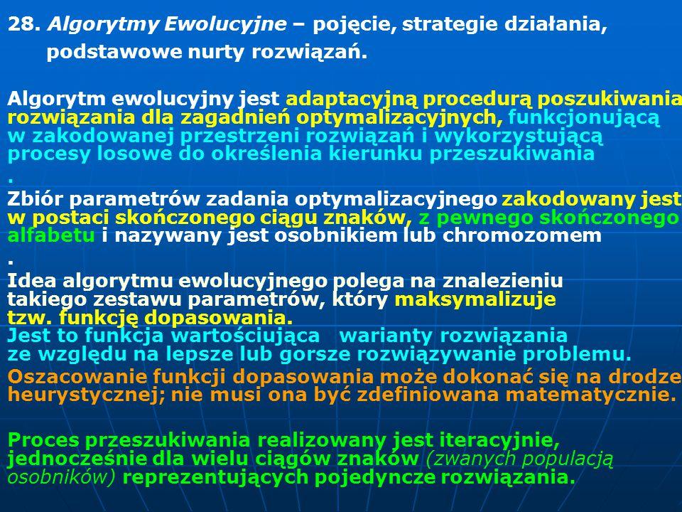 28. Algorytmy Ewolucyjne – pojęcie, strategie działania,