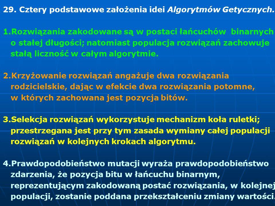 29. Cztery podstawowe założenia idei Algorytmów Getycznych.