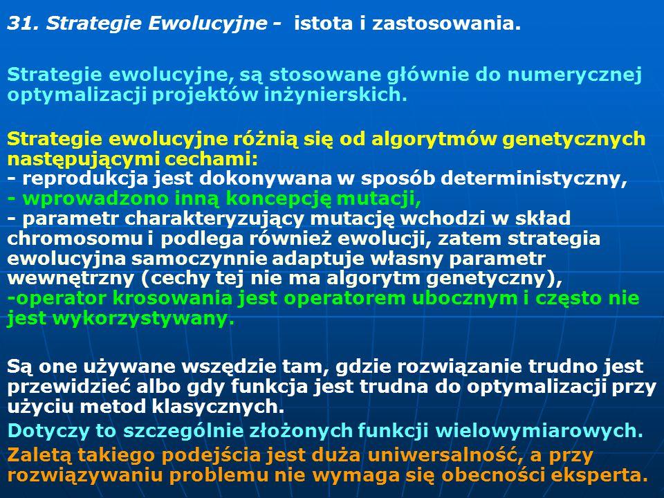 31. Strategie Ewolucyjne - istota i zastosowania.