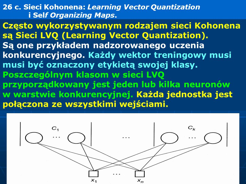 26 c. Sieci Kohonena: Learning Vector Quantization