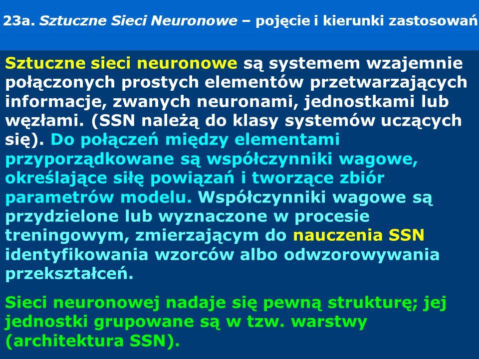 23a. Sztuczne Sieci Neuronowe – pojęcie i kierunki zastosowań.