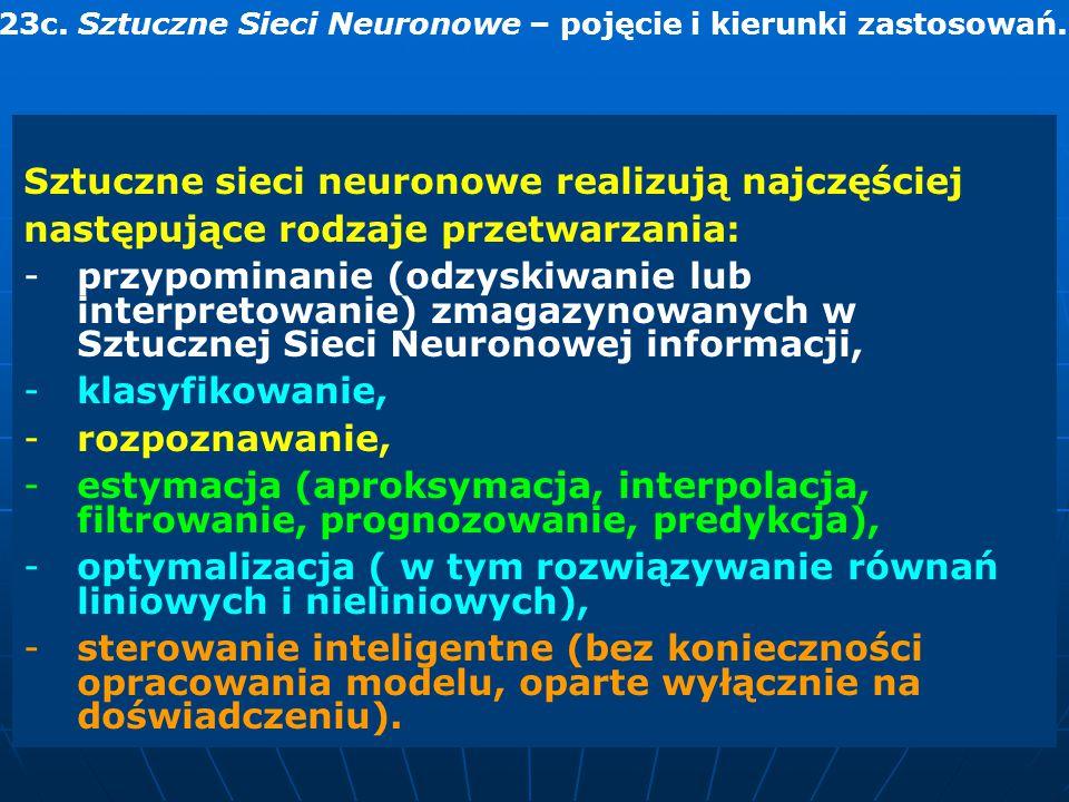 Sztuczne sieci neuronowe realizują najczęściej