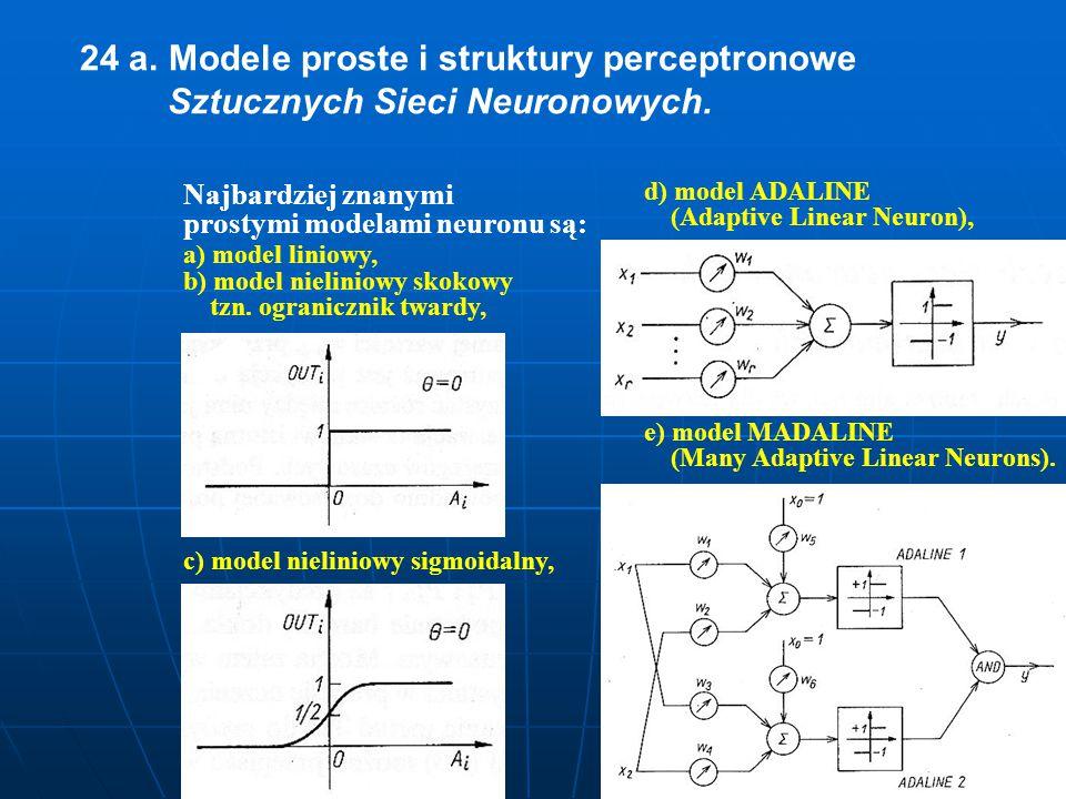 24 a. Modele proste i struktury perceptronowe