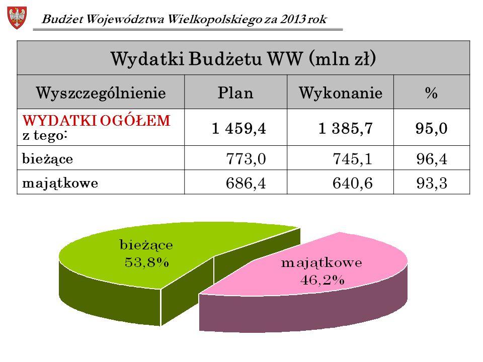 Wydatki Budżetu WW (mln zł)