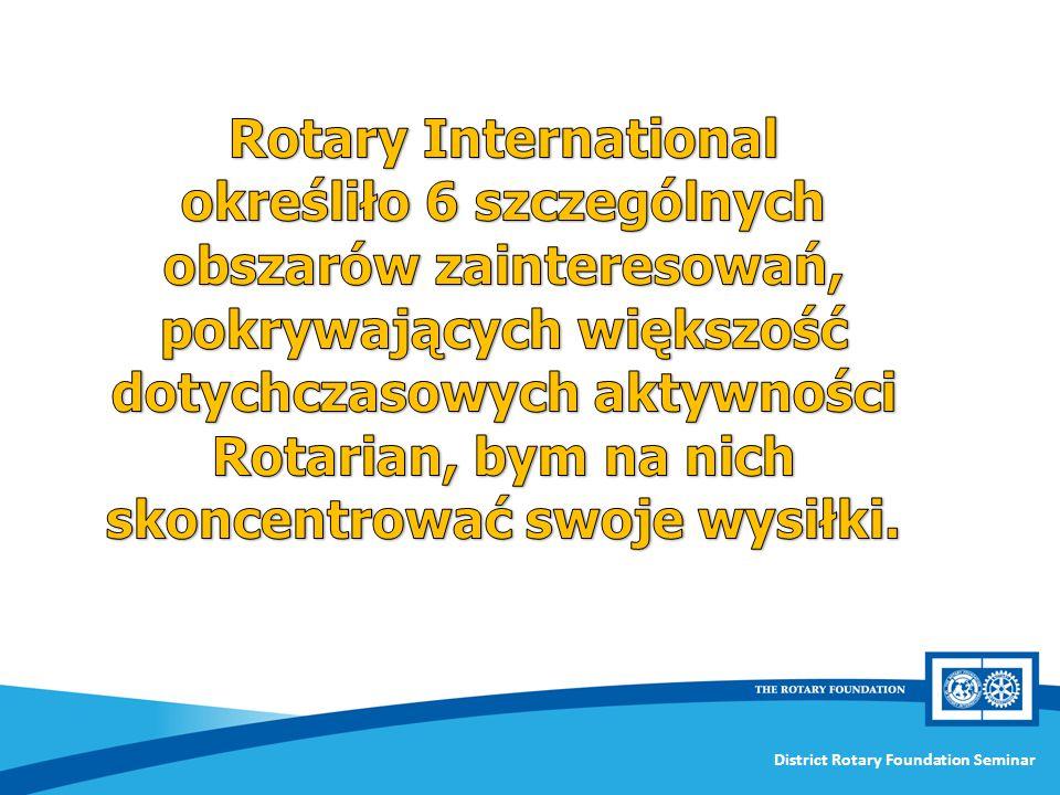 Rotary International określiło 6 szczególnych obszarów zainteresowań, pokrywających większość dotychczasowych aktywności Rotarian, bym na nich skoncentrować swoje wysiłki.
