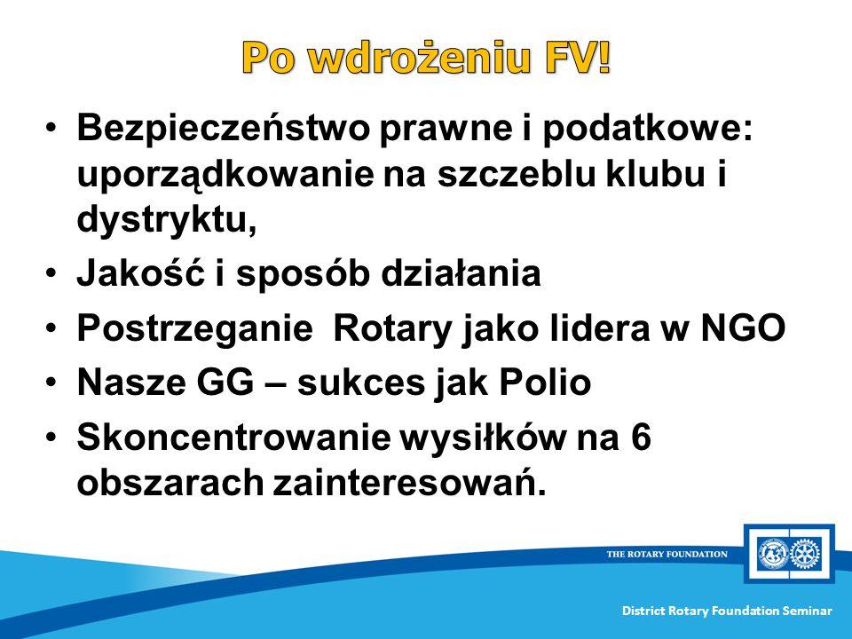 Po wdrożeniu FV! Bezpieczeństwo prawne i podatkowe: uporządkowanie na szczeblu klubu i dystryktu, Jakość i sposób działania.