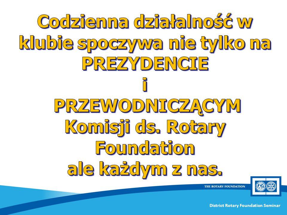 Codzienna działalność w klubie spoczywa nie tylko na PREZYDENCIE i PRZEWODNICZĄCYM Komisji ds. Rotary Foundation
