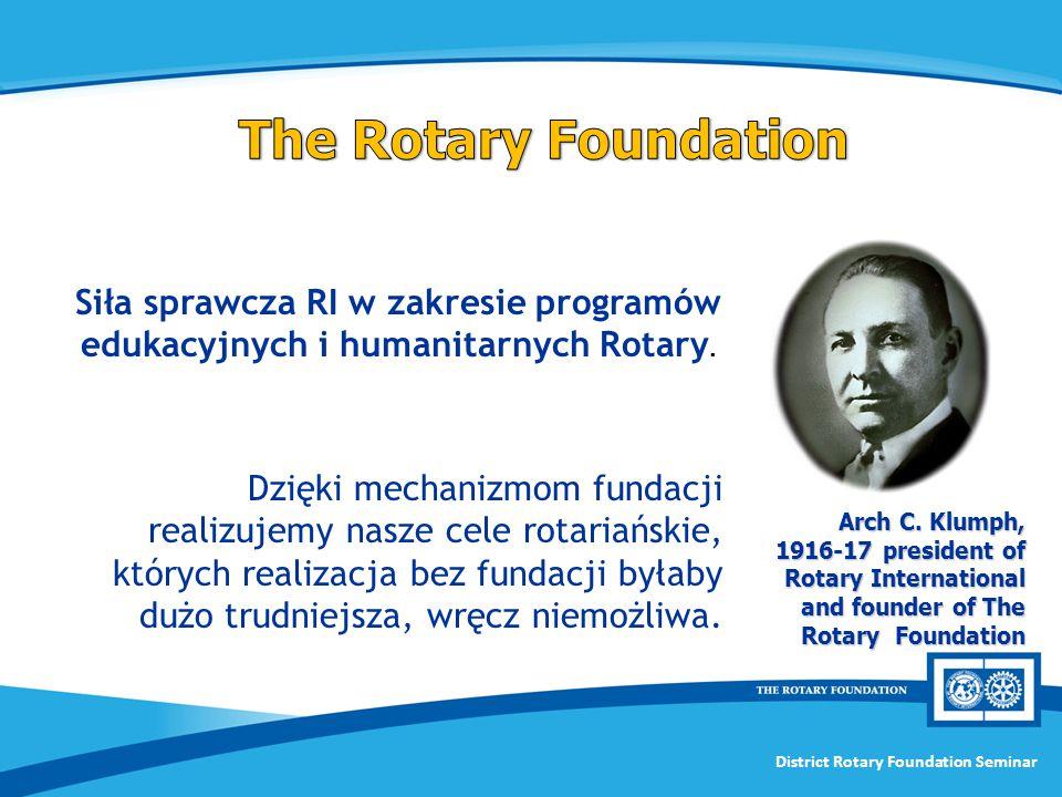 The Rotary Foundation Siła sprawcza RI w zakresie programów edukacyjnych i humanitarnych Rotary.