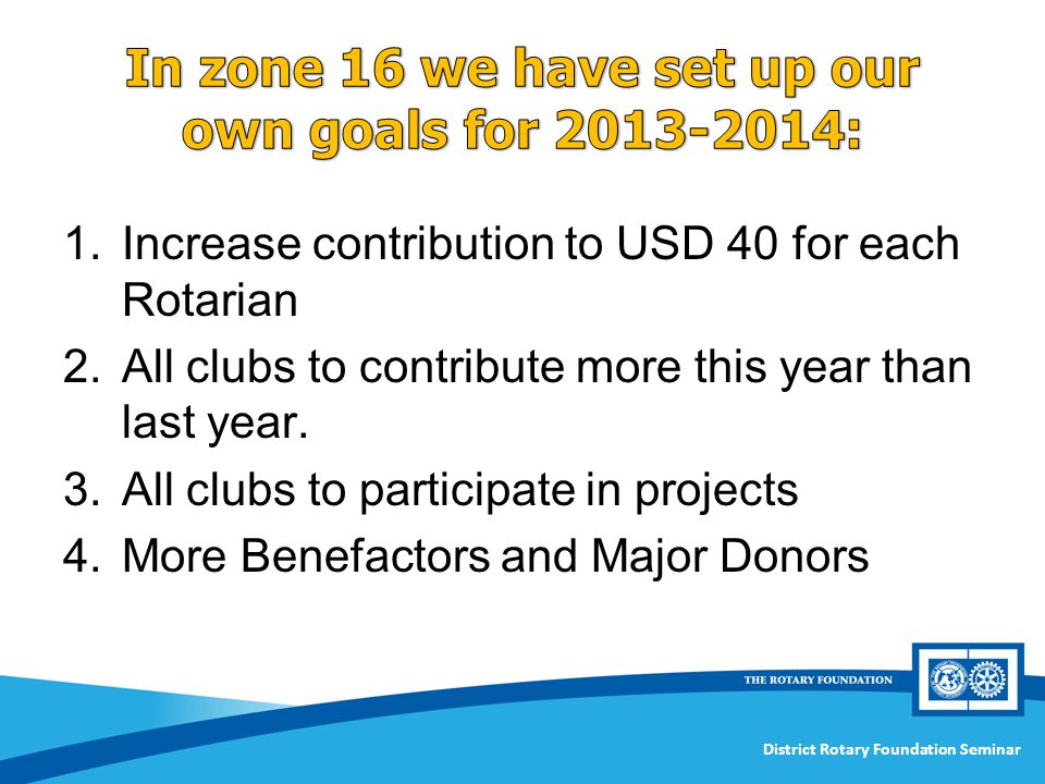 In zone 16 we have set up our own goals for 2013-2014: