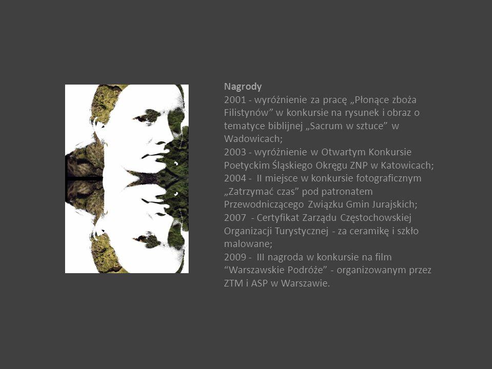 """Nagrody 2001 - wyróżnienie za pracę """"Płonące zboża Filistynów w konkursie na rysunek i obraz o tematyce biblijnej """"Sacrum w sztuce w Wadowicach;"""