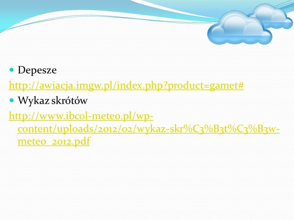Depesze http://awiacja.imgw.pl/index.php product=gamet# Wykaz skrótów.