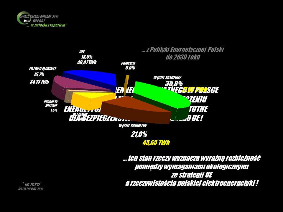 iea WORLD ENERGY OUTLOOK 2010 RAPORT* … w związku z raportem* … z Polityki Energetycznej Polski do 2030 roku.