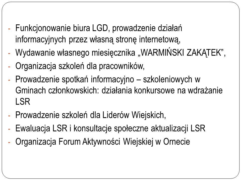 Funkcjonowanie biura LGD, prowadzenie działań informacyjnych przez własną stronę internetową,