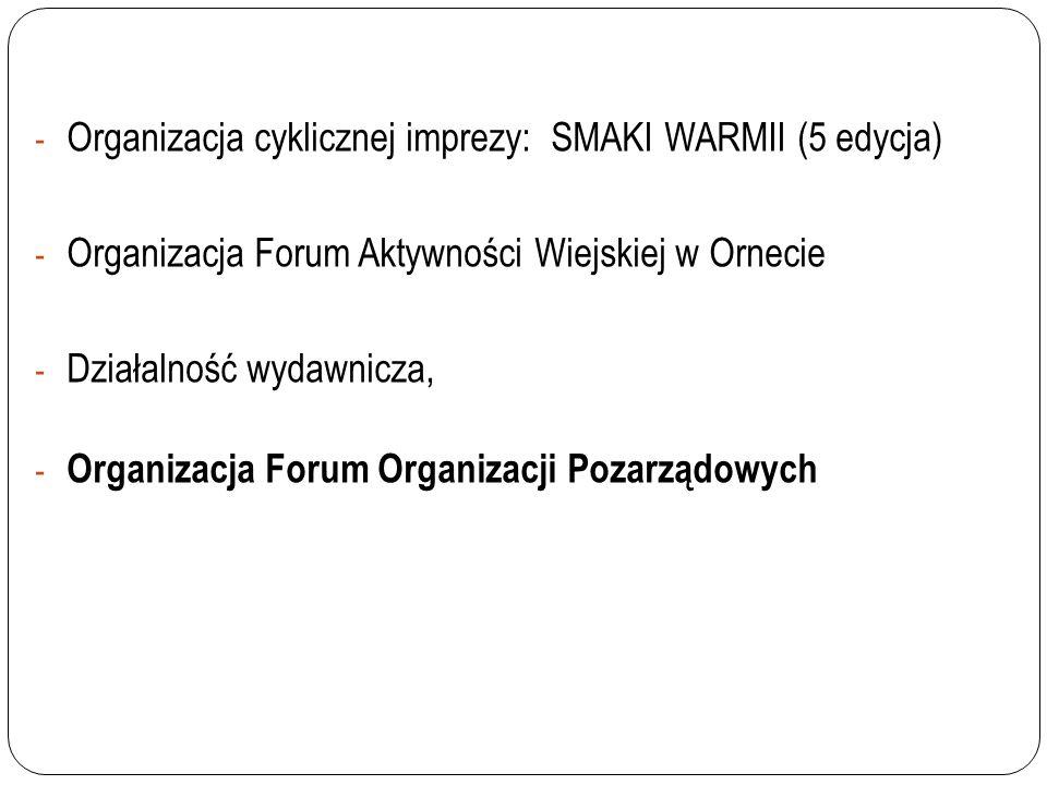 Organizacja cyklicznej imprezy: SMAKI WARMII (5 edycja)