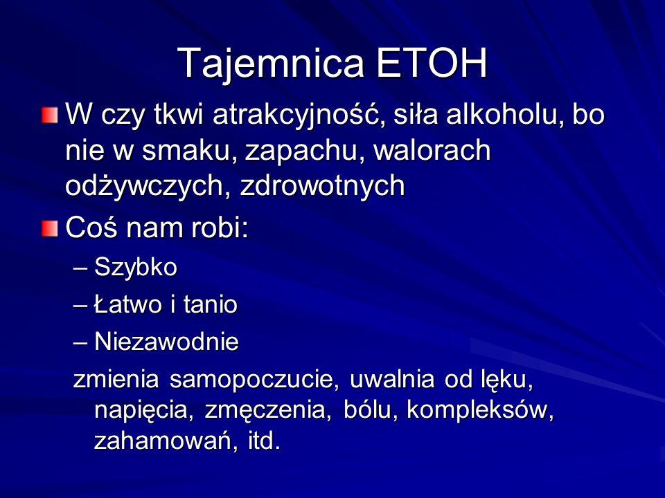 Tajemnica ETOH W czy tkwi atrakcyjność, siła alkoholu, bo nie w smaku, zapachu, walorach odżywczych, zdrowotnych.