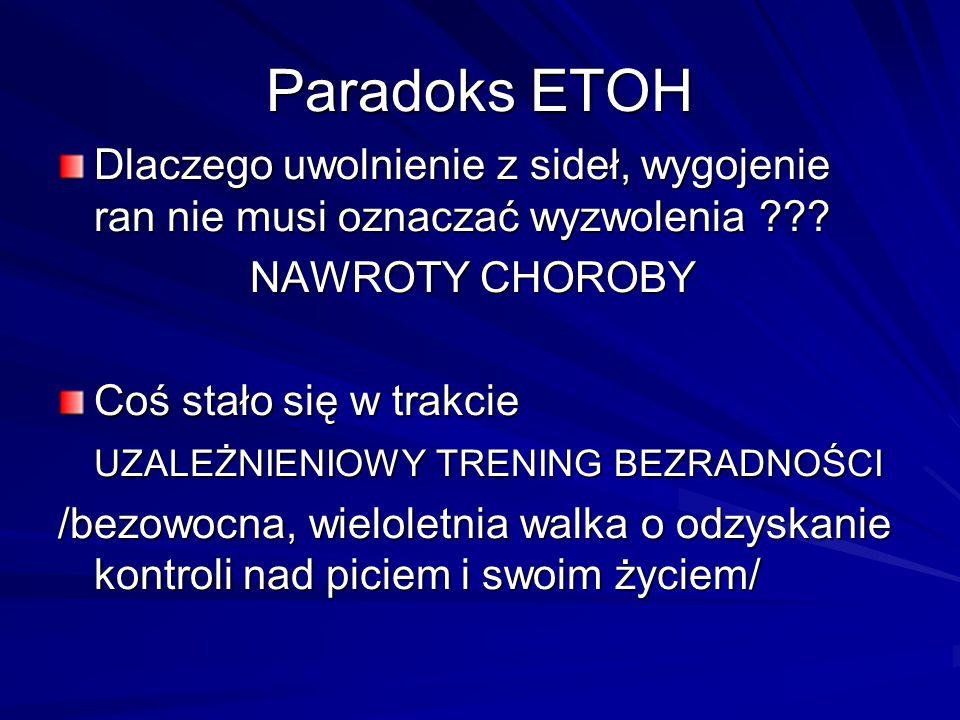 Paradoks ETOH Dlaczego uwolnienie z sideł, wygojenie ran nie musi oznaczać wyzwolenia NAWROTY CHOROBY.