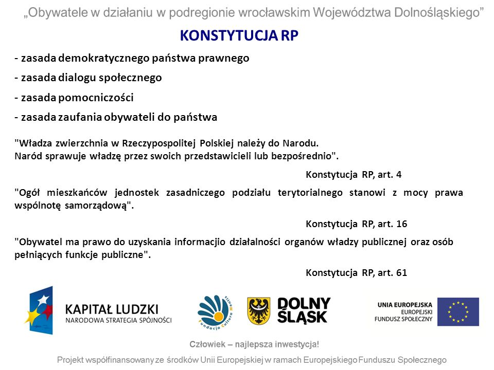 KONSTYTUCJA RP - zasada demokratycznego państwa prawnego