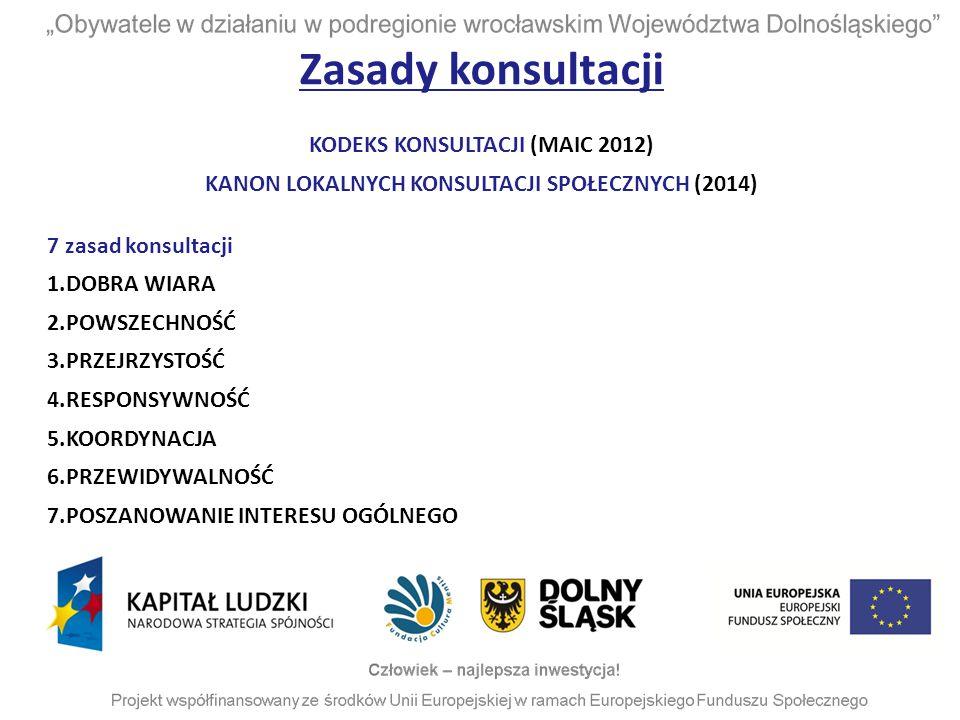 Zasady konsultacji KODEKS KONSULTACJI (MAIC 2012)