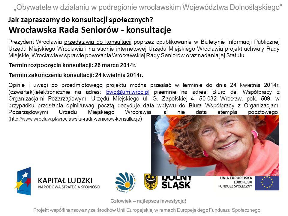 Wrocławska Rada Seniorów - konsultacje