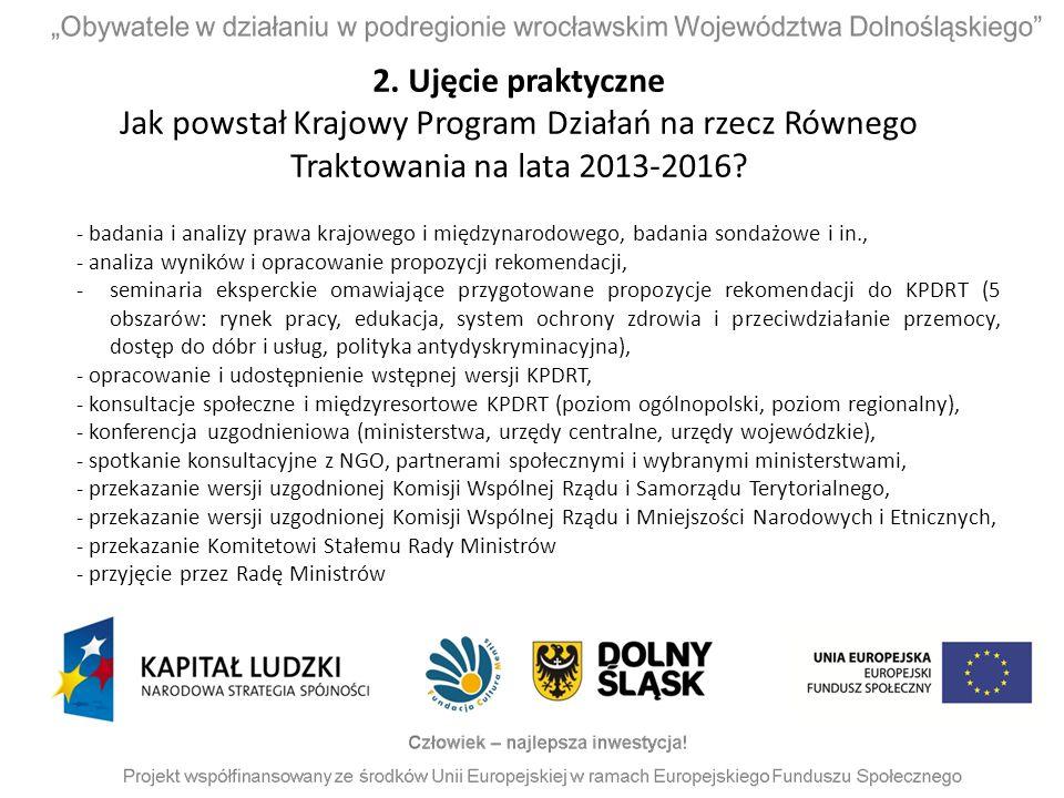 2. Ujęcie praktyczne Jak powstał Krajowy Program Działań na rzecz Równego Traktowania na lata 2013-2016