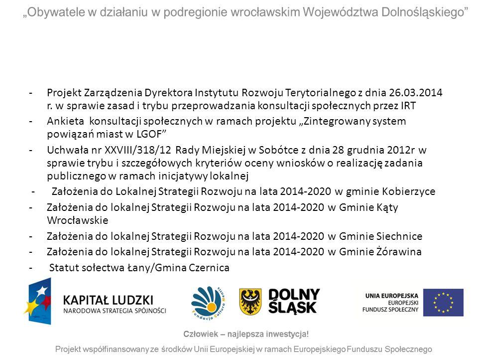 Projekt Zarządzenia Dyrektora Instytutu Rozwoju Terytorialnego z dnia 26.03.2014 r. w sprawie zasad i trybu przeprowadzania konsultacji społecznych przez IRT