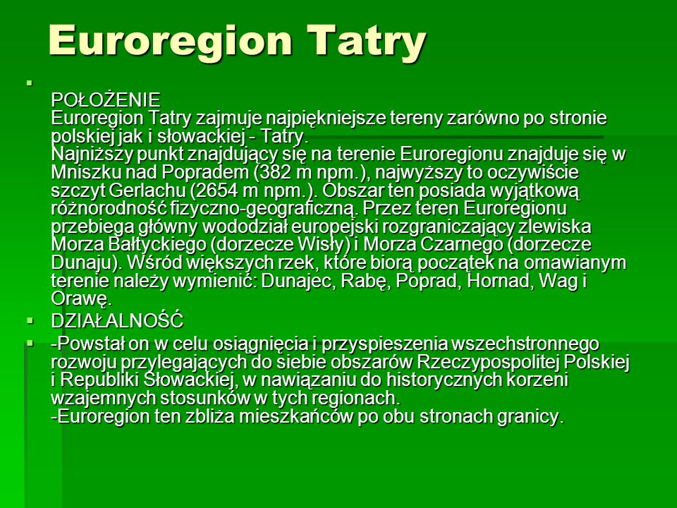 Euroregion Tatry DZIAŁALNOŚĆ