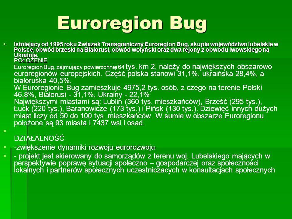 Euroregion Bug DZIAŁALNOŚĆ -zwiększenie dynamiki rozwoju eurorozwoju