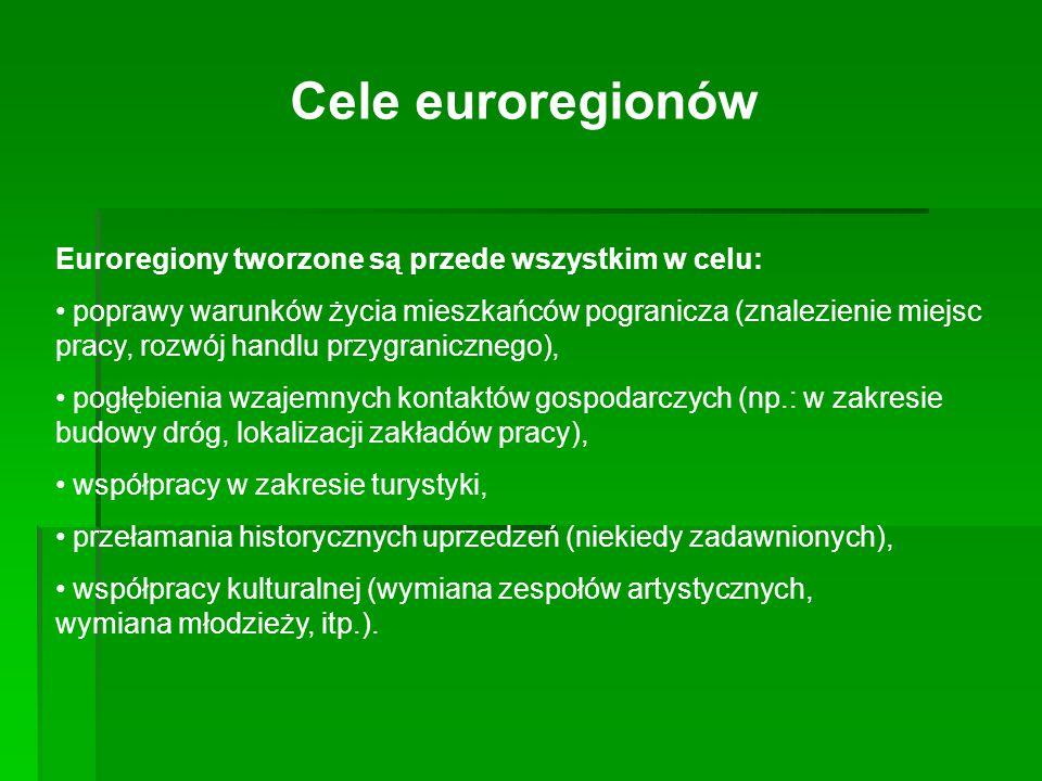 Cele euroregionów Euroregiony tworzone są przede wszystkim w celu: