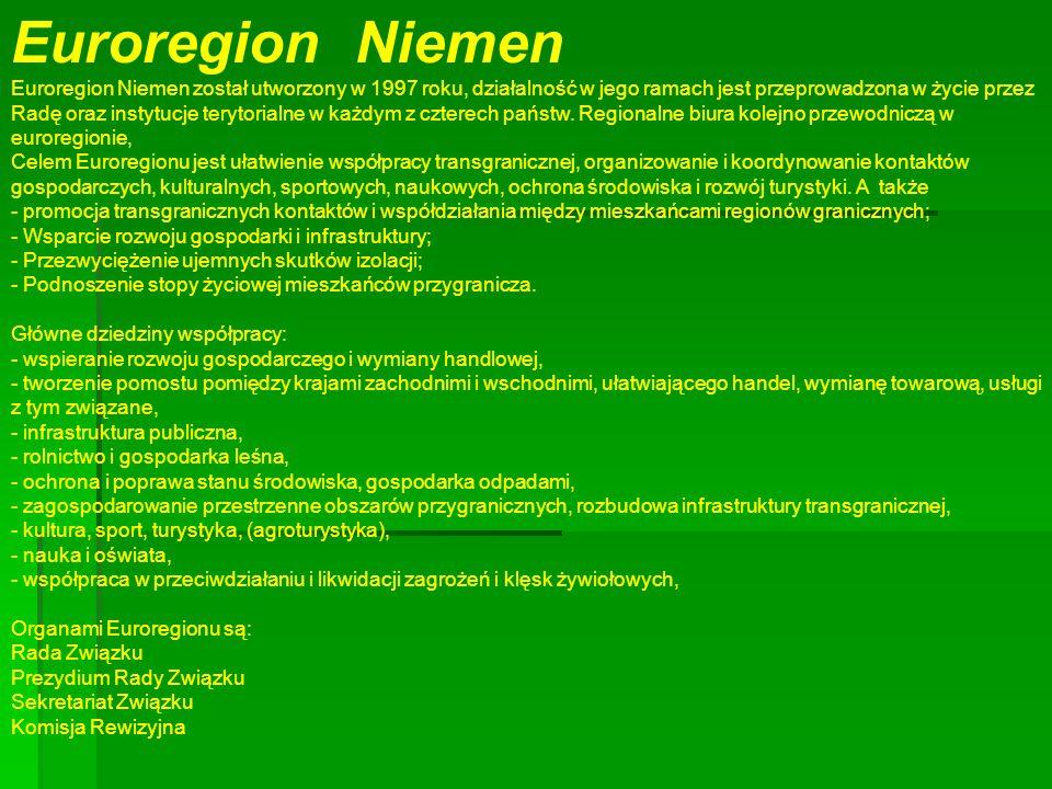 Euroregion Niemen Euroregion Niemen został utworzony w 1997 roku, działalność w jego ramach jest przeprowadzona w życie przez Radę oraz instytucje terytorialne w każdym z czterech państw.