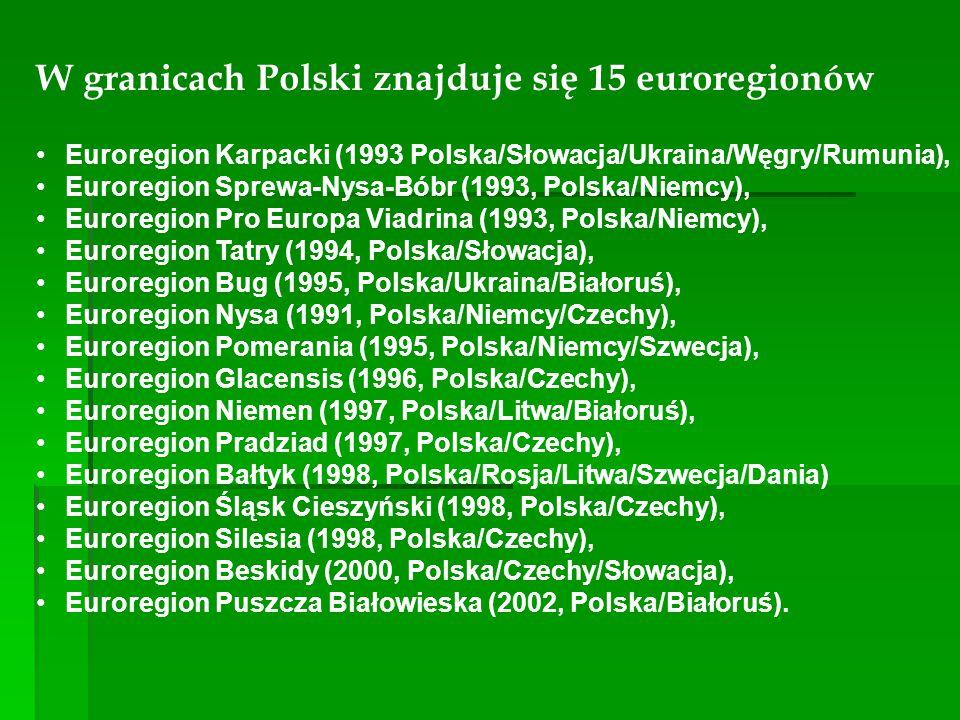 W granicach Polski znajduje się 15 euroregionów