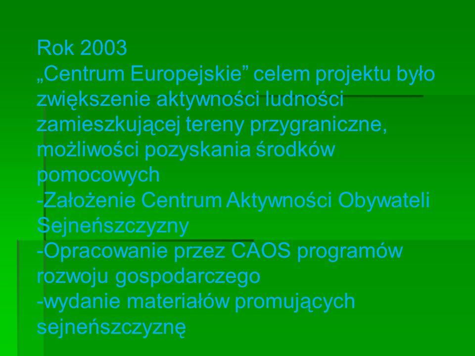 """Rok 2003 """"Centrum Europejskie celem projektu było zwiększenie aktywności ludności zamieszkującej tereny przygraniczne, możliwości pozyskania środków pomocowych -Założenie Centrum Aktywności Obywateli Sejneńszczyzny -Opracowanie przez CAOS programów rozwoju gospodarczego -wydanie materiałów promujących sejneńszczyznę"""