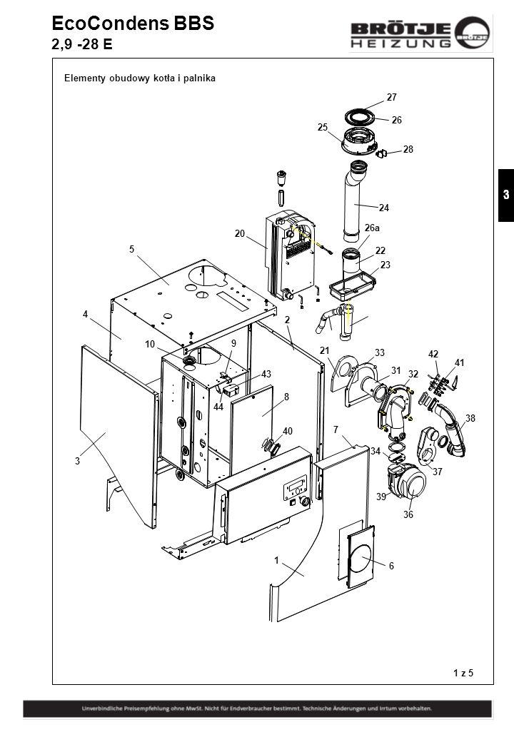 EcoCondens BBS 2,9 -28 E Elementy obudowy kotła i palnika 27 26 25 28