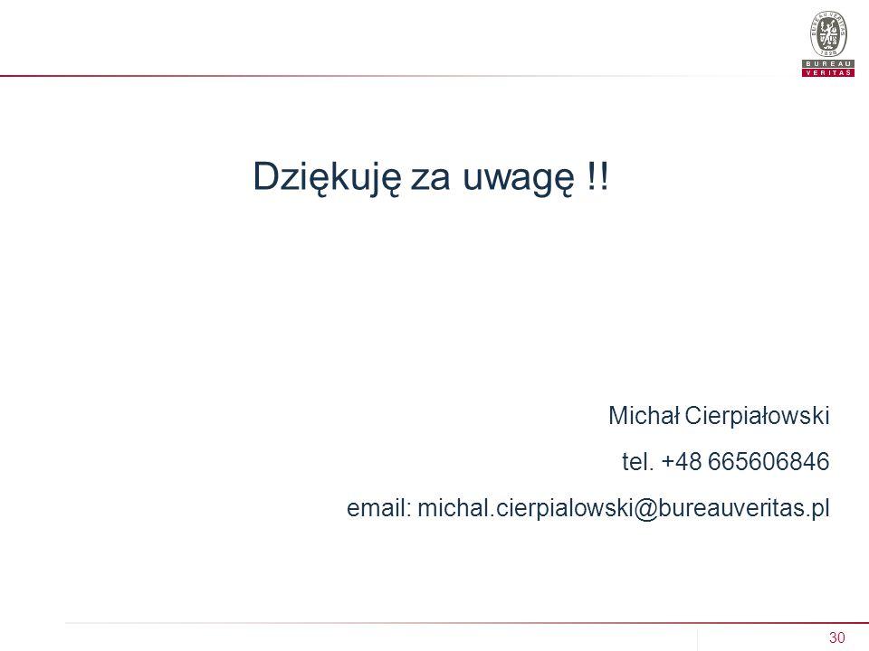 Dziękuję za uwagę !! Michał Cierpiałowski tel. +48 665606846