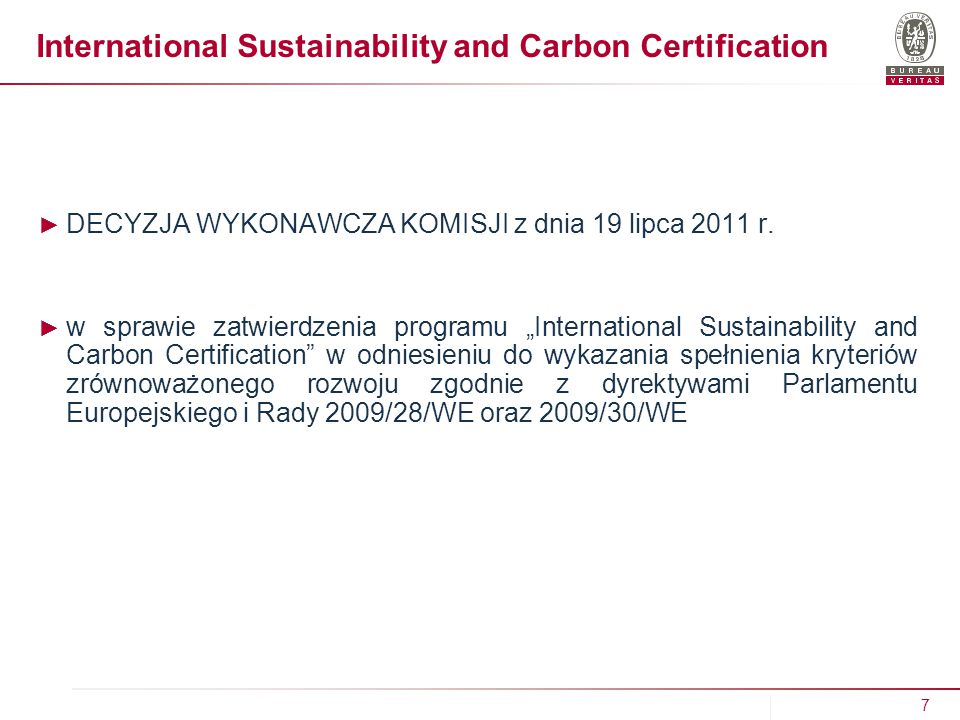 International Sustainability and Carbon Certification