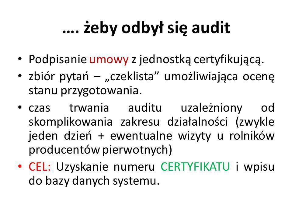 …. żeby odbył się audit Podpisanie umowy z jednostką certyfikującą.