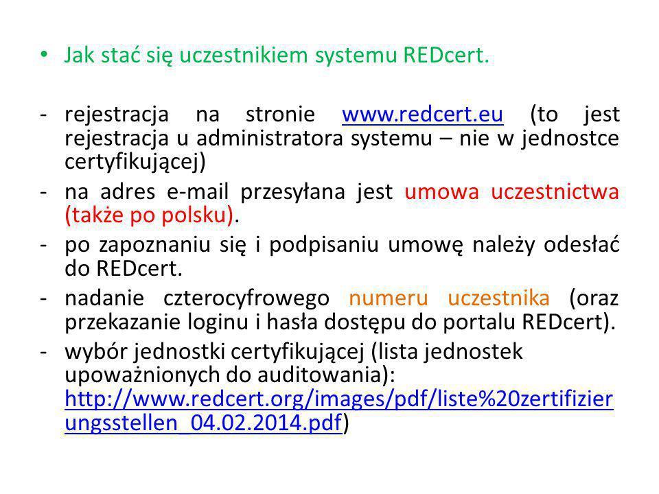 Jak stać się uczestnikiem systemu REDcert.