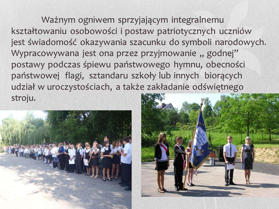 Ważnym ogniwem sprzyjającym integralnemu kształtowaniu osobowości i postaw patriotycznych uczniów jest świadomość okazywania szacunku do symboli narodowych.